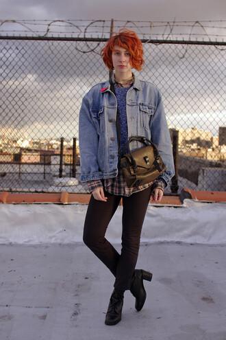 de lune blogger bag denim jacket skinny pants
