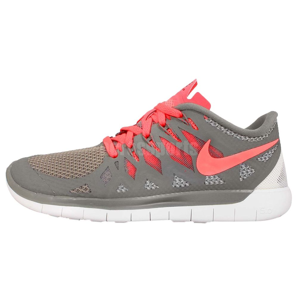 Womens Wmns Nike Free 5.0 Grey Pink Jogging Running Shoes Nike Free Run  Trainers