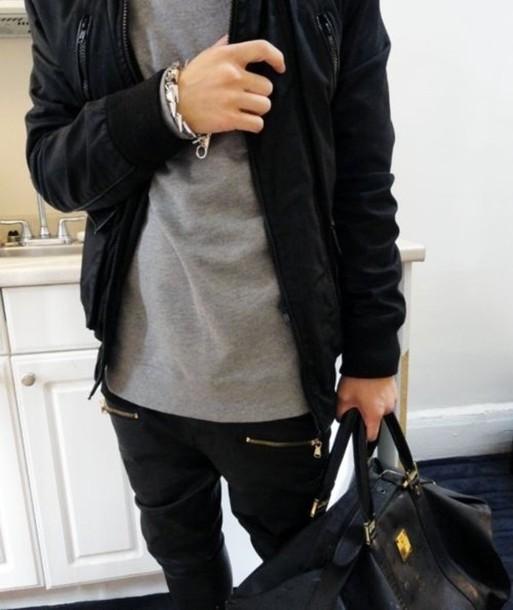 pants black zip hipster swag joggers