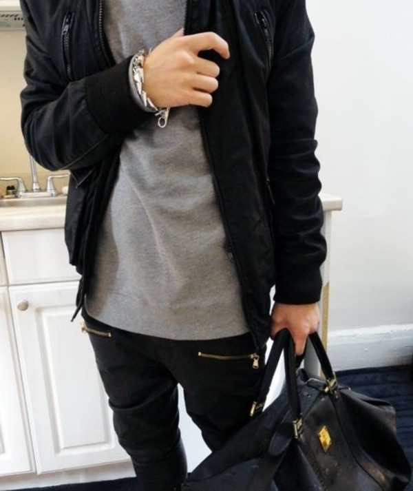 pants black zip hipster swag joggers