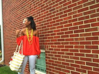 top red off shoulder top red top off the shoulder off the shoulder top necklace yellow stripes striped bag red jeans white jeans sunglasses