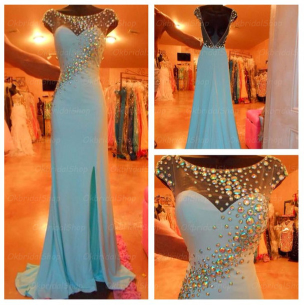 dress blue prom dress cap sleeve prom dress long prom dress blue evening dress