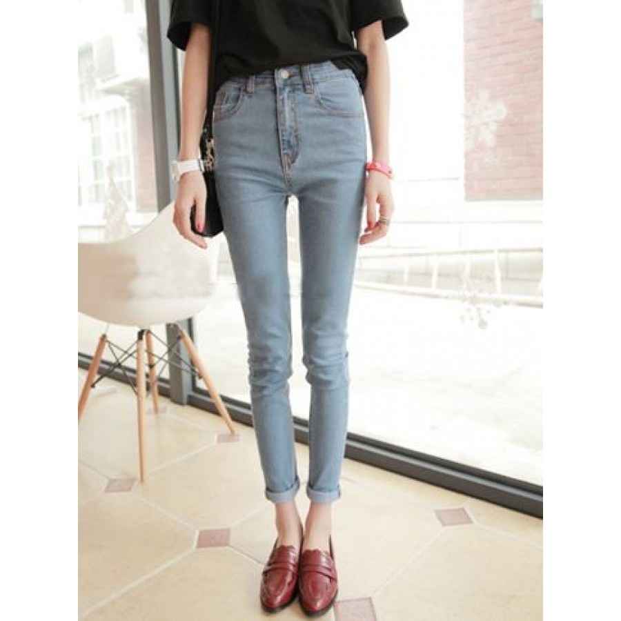 Faded High Waisted Jeans - Jeans Am