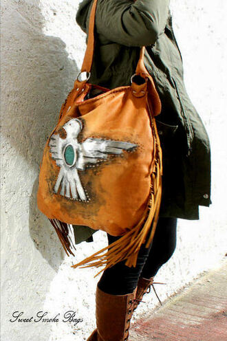 bag eagle bag leather bag oversized bag tote bag hobo leather bag hippie bag boho bag fringed bag