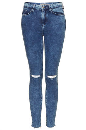 MOTO Ripped Mottle Leigh Jeans - Topshop