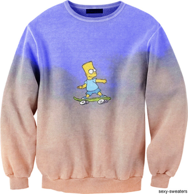 sweater blue violett sexy funny fashion i need iz looking good bart simpson the simpsons funny sweater