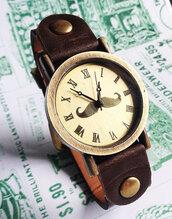 jewels,leather watch,mens watch,boyfriend watch,big face watch,roman numerals,gentlemen,brown,vintage style watch