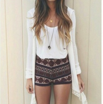 spring outfits printed shorts tribal pattern white cardigan pendant white tank top long cardigan cute outfits boho