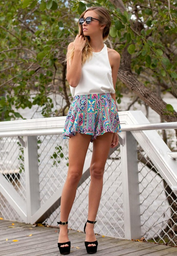 shorts floaty shorts pink elastic top white multicolor blouse