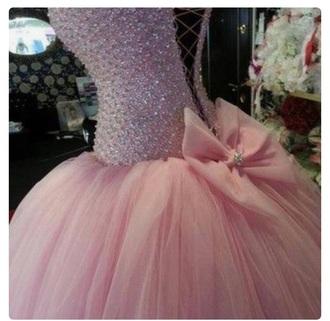 dress ball gown dress peach dress rhinestones corset