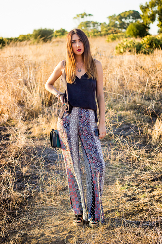 shoes and basics blogger black tank top boho pants hippie
