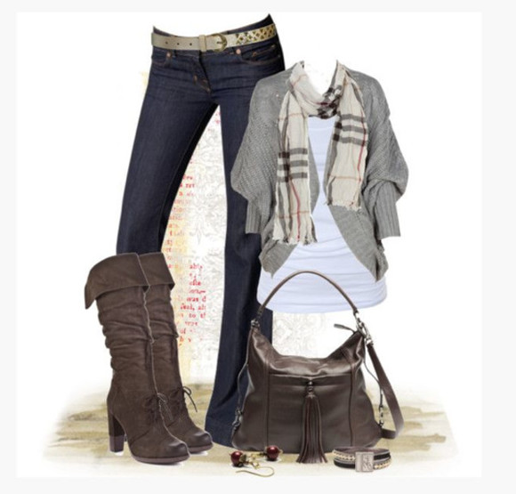 jeans grey sweater gray sweater shoes high heels boots knee high boots cuff boots brown boots wrinkled boots bag purse brown bag top scarf bunch sleeves clothes outfit
