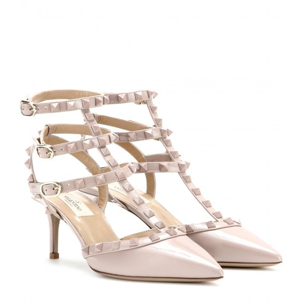 Valentino Rockstud Patent-Leather Kitten-Heel Pumps - Polyvore
