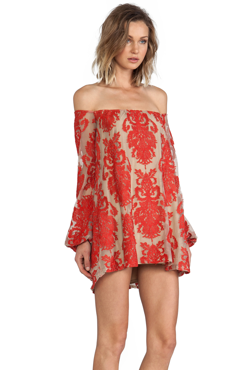 For love & lemons precioso mini dress in red