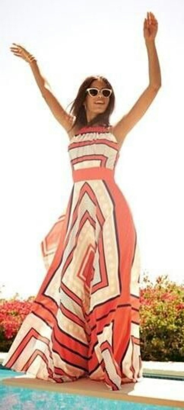 dress orange white maxi dress fashion summer trendy long dress cool rose wholesale-jan