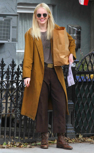 coat mustard fall outfits pants emma stone