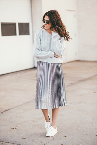 hello fashion blogger sweater skirt shoes pleated skirt metallic pleated skirt sneakers