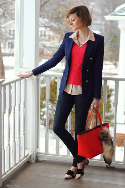 district of chic blogger office outfits red sweater red bag red cable knit sweater sweater blazer blue blazer shirt pajama style jeans denim blue jeans flats loafers