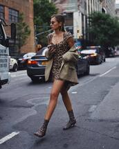 dress,leopard print dress,mini dress,sock boots,mid heel boots,earrings,retro sunglasses,blazer