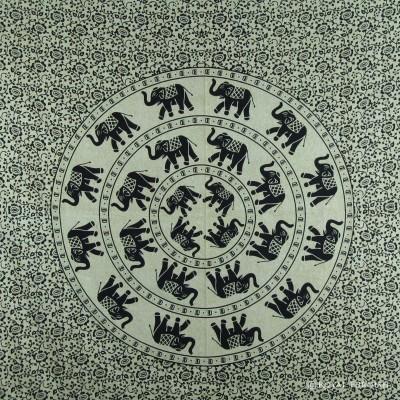 Black and White Mandala Elephant Ring Tapestry Wall Hanging - RoyalFurnish.com
