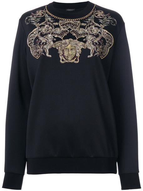 VERSACE sweatshirt embroidered women spandex black sweater