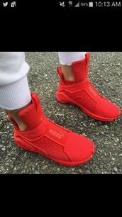 shoes,puma sneakers,riri by rihanna,red