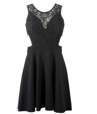 dress little black dress lace top dress cut out waist dress sleeveless dress www.ustrendy.com