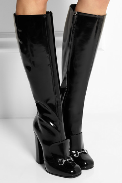 30405a71a Gucci | Horsebit-detailed patent-leather knee boots | NET-A-PORTER ...