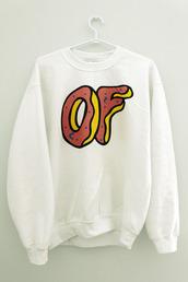 sweater,of,odd future,white,sweatshirt,shirt