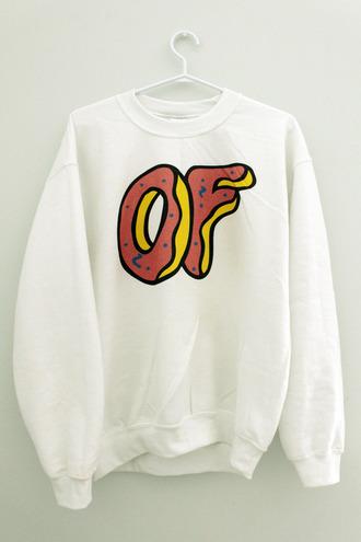 sweater of odd future white sweatshirt shirt