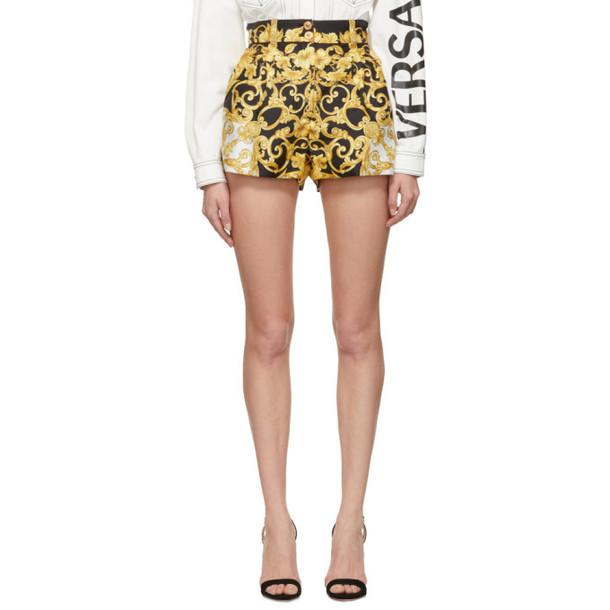 Versace Black & Gold Silk Medusa Barroco Shorts