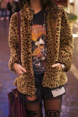 coat leopard print leopard print thick jacket furry furry coat
