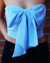 tank top,bow,crop tops,shirt,light blue,strapless,bow crop top,strapless top,top
