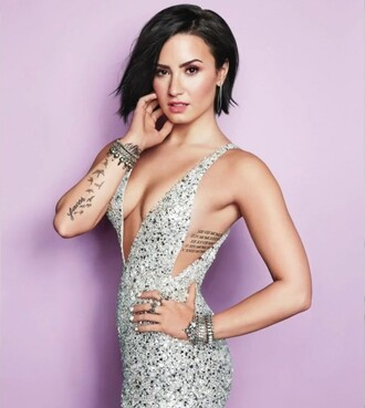 dress sequins sparkly dress prom dress gown demi lovato plunge v neck editorial