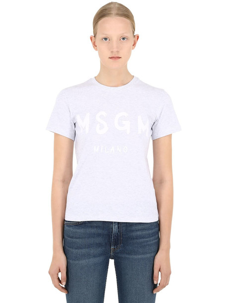 MSGM Logo Print Cotton Jersey T-shirt in grey