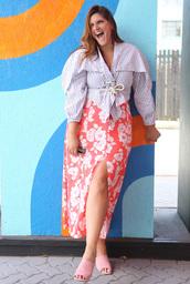 fashion foie gras,blogger,shirt,skirt,plus size,mules,slit skirt,floral skirt,summer outfits