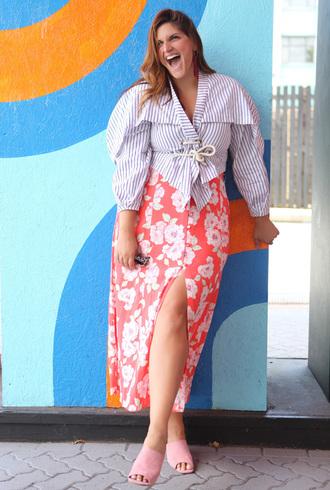 fashion foie gras blogger shirt skirt plus size mules slit skirt floral skirt summer outfits