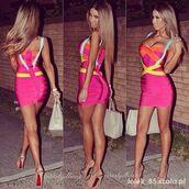 dress,bandage dress,bandage,bandage bodycon dress,hl dress,celebrity,pink,sexy,bodycon dress,colorful dress,styl?,high heels,hipster,pink dress,shoes,clothes,itslydboss,instagram,tan,sexy dress,louboutin