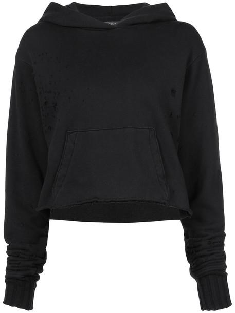 Amiri - distressed hoodie - women - Cotton - M, Black, Cotton