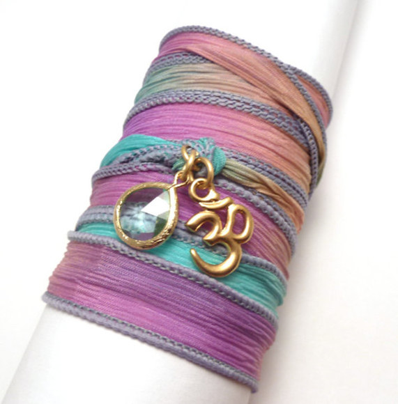 jewels wrap bracelet silk ribbon bracelet costume jewelry charm bracelet wrap