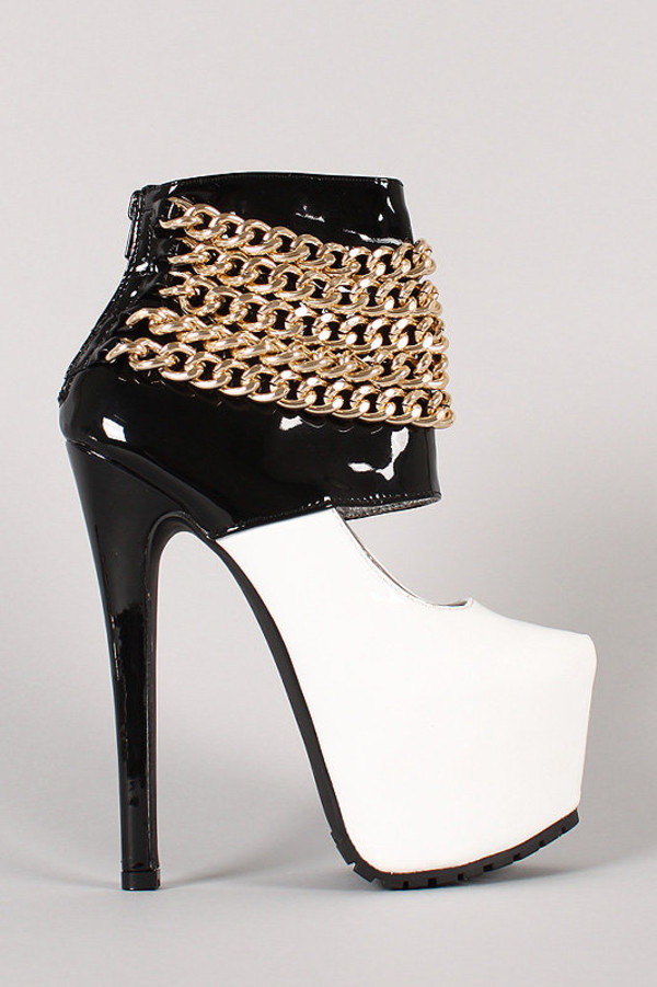 shoes heels priveleged chain up two tone