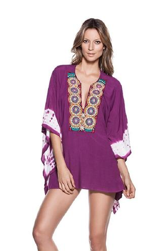 dress embroidered tie dye sleeves embroidered details one size cover up ondademar bikiniluxe