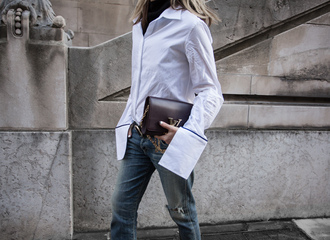 oracle fox blogger belt white blouse bell sleeves ripped jeans burgundy louis vuitton louis vuitton bag streetwear