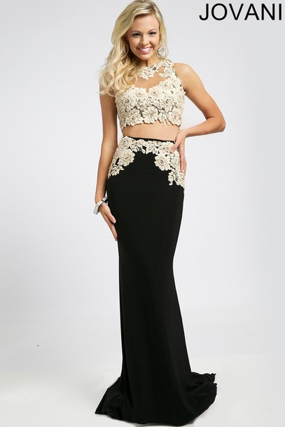 dress lace black white ivory crop tops two-piece prom long gown