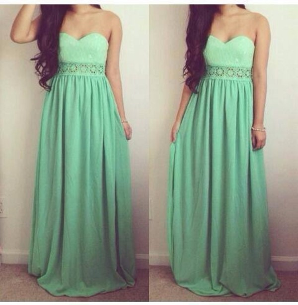 dress mint dress dress prom dress green