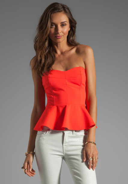 shirt orange blouse peplum top
