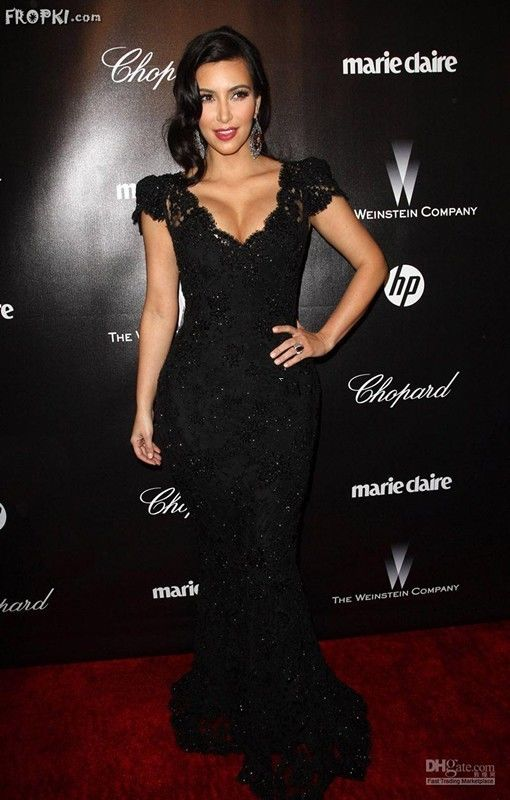 Kim Kardashian 2012 Golden Globe Awards Cap V Neck Lace Mermaid Celebrity Dress | eBay