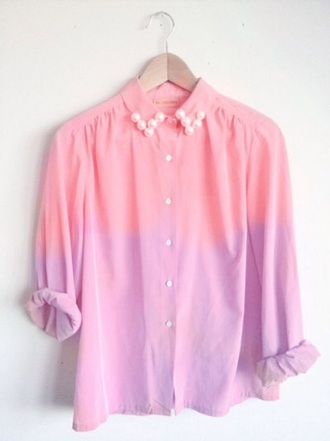 blouse ombre pastel pastel pink pearl girly ombre shirt