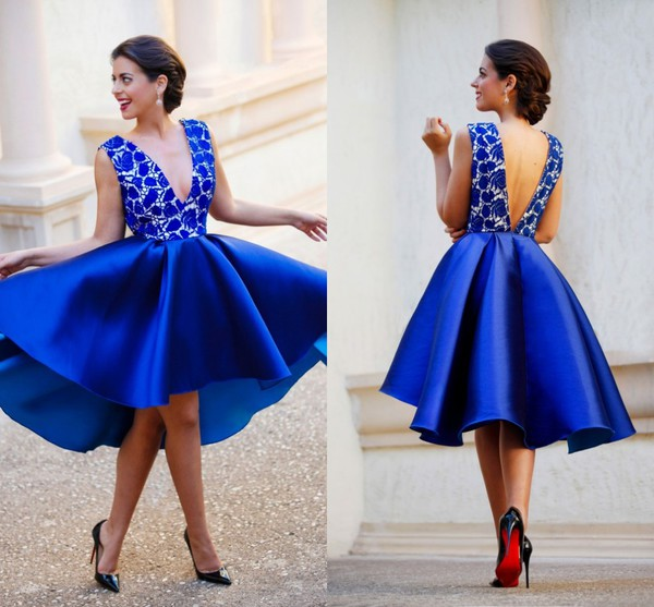 Winter Party Dresses Sexy Half Sleeves Party Dresses Royal Blue ...