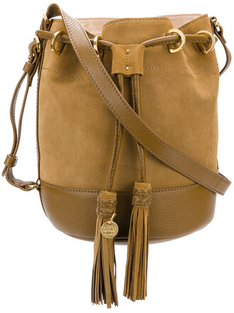 women bag bucket bag leather cotton suede brown
